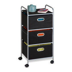 None - Fabric Storage Cart - Getting organized has never looked better with this impressive 3-drawer Rolling Fabric Cart. The smooth rolling storage unit holds clothes,tools,or anything else you need tucked away.