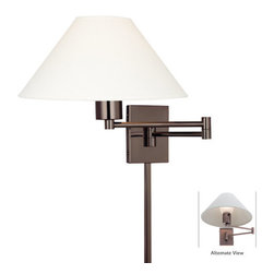 Kovacs - Kovacs P4358-1-631 Single Light Up Lighting Swing Arm Wall Sconce from the Borin - *Single light up lighting swing arm wall sconce featuring a stretched oyster linen shade