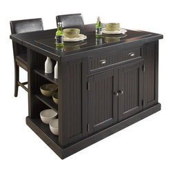 "Home Styles - Home Styles Nantucket Kitchen Island in Distressed Black Finish - Home Styles - Kitchen Carts - 503394 - The Home Styles Nantucket Kitchen Island is constructed of hardwood solids and engineered woods in a Sanded and Distressed Black Finish providing an aged worn look. Features include black granite 3/4"" inlay top, convenient drop leaf that rises to extend depth to 37 inches, two adjustable shelves on each side, storage drawer, storage cabinet containing adjustable shelves, and antique brushed nickel hardware."