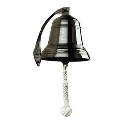"""8"""" Bronze Ship's Bell - The 8"""" bronze ship's bell measures 8"""" x 8.75"""". It is made of solid brass and finished in bronze. It's an outstanding piece that will make an ideal decoration for the bar, office, boat or home. When rang this bell makes a full/firm sound. This bell makes a great gift and is a popular item for corporate events and parties."""