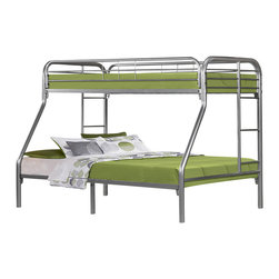 Monarch Specialties - Monarch Specialties I 2231S Silver Metal Twin/Full Bunk Bed - The fun space saving design of this silver metal twin/full bunk bed will make a wonderful addition to your child's bedroom. Bottom bunk is a full sized bed with twin size bed for the top bunk. Convenient built in ladders on each side leads up to the top b  Bunk Bed (1)