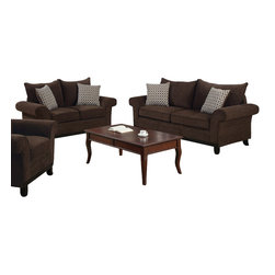 Monarch Specialties - Monarch Specialties 8733CH 2-Piece Living Room Set in Chocolate Chenille Fabric - This transitional design sofa is made with an extra soft chocolate chenille fabric. Included are two accent pillows in a camel dew drop color co-ordinated fabric which accentuates the elegance of the style. The curved plush arms, wood facing and shaker wood legs give this piece of furniture a timeless design.