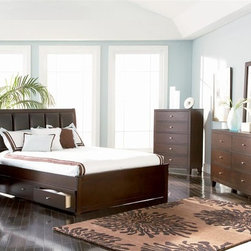 Coaster - Lorretta 5-Pc Platform Bedroom Set (Queen) - Choose Bed Size: QueenIncludes platform bed, chest, dresser with mirror and nightstand. Contemporary style. Bed with bold black leather-like vinyl padded headboard. Two sided underbed storage unit with drawers. Requires boxspring and foundation. Chest with five drawers. Dresser with six drawers. Nightstand with two drawers. English dovetail joints. Metal on wood center drawer glides. Smooth, unadorned surface. Brushed nickel hardware. Bold tapered block legs. Framed wide, square mirror. Rich dark brown finish. Full bed: 81.5 in. L x 57.5 in. W x 49 in. H. Queen bed: 86.5 in. L x 63.5 in. W x 49 in. H. Eastern king bed: 86.5 in. L x 79.5 in. W x 49 in. H. Underbed storage drawer: 59 in. W x 18.5 in. D x 11 in. H. Chest: 34 in. W x 16.88 in. D x 47.75 in. H. Dresser: 58 in. W x 16 in. D x 35 in. H. Mirror: 40 in. W x 40 in. H. Nightstand: 22 in. W x 16 in. D x 24 in. H. WarrantyModern lifestyles have dictated that bedrooms be places for recharging as well as lounging. The Lorretta bedroom collection exemplifies this 21st century outlook with its clean, contemporary lines and urban inspired styling.