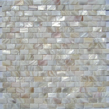 """Natural Varied Mother of Pearl Minibrick 5/8"""" x 1"""" Tile - Mother of pearl tiles add new and unique elegance to your bathroom, backsplash, headboard, and more. Our Mother of Pearl tiles are handmade from genuine natural freshwater pearls. Although Mother of Pearl tiles are naturally thin, they are very strong and durable as well as easy to install in kitchens, bathrooms, and pools."""