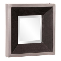 Howard Elliott - Jackson Square Wood Mirror - The Jackson Mirror features a sleek and sophisticated look. Espresso wood grain veneer frame trimmed with a brushed aluminum border. Mirror Size: 8 in. x 8 in.. 14 in. x 14 in. x 2 in.