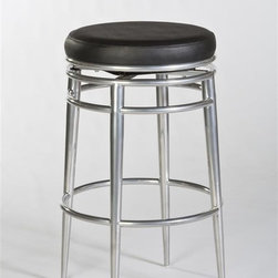 Hillsdale - Backless Swivel Stool (26 in. Counter Height) - Choose Size: 26 in. Counter HeightRetro lookBlack vinyl and chrome metalCan support a high frequency of useSome assembly required. 20 in. W x 20 in. D x 26 in. H (24 lbs.)One of the first of its kind at Hillsdale Furniture, the Hyde Park Backless Stool combines high design with commercial grade support features. Its chrome finish and black vinyl add a touch of retro glamour to a piece that is durable and ready to support greater capacity and frequency of use. Some assembly required.