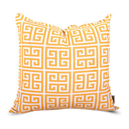 Majestic Home - Outdoor Citrus Towers Large Pillow - Add a splash of color and a little texture to any environment with these great indoor/outdoor plush pillows by Majestic Home Goods. The Majestic Home Goods Large Pillow will add additional comfort to your living room sofa or your outdoor patio. Whether you are using them as decor throw pillows or simply for support, Majestic Home Goods Large Pillows are the perfect addition to your home. These throw pillows are woven from Outdoor Treated polyester with up to 1000 hours of U.V. protection, and filled with Super Loft recycled Polyester Fiber Fill for a comfortable but durable look. Spot clean only.