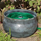 Floral Blue Patina Copper Hose Pot - Without Lid - Add charm to your garden and conceal an unsightly hose with this stunning Floral Blue Patina Copper Hose Pot. Handcrafted from solid copper, this hose pot features delicate floral detailing and a beautiful Blue Patina.