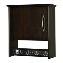 Creative Connectors - 7 in. Wall Cabinet with Garment Hook - Walnut - CARB-Compliant Wood Solid Composite with Melamine Finish. To clean wipe with aclean, damp cloth.. . Finish: Walnut. 7.12 in. L x 17.5 in. D x 19.87 in. H