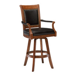 Hillsdale Furniture - Hillsdale Kingston Game Swivel Leather Back 30 Inch Barstool - The Kingston barstool is a distinguished addition to any home. The light cherry finished wood, black leather and felt, and nail-head trim give this grouping a stately presence. Not only is this set handsome but it is practical also, with a stool that swivels 360 degrees.