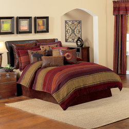 Croscill - Croscill Plateau 4-piece Striped Comforter Set - Get a good night's sleep with this Plateau four-piece comforter set. The chenille design with jewel-toned stripes and diamond details set against an olive background create a striking statement. The 100-percent polyester filling offers warmth and comfort.