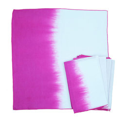 Calyz - Pink Ombre Napkins, Set of 4 - These napkins are expertly handmade and hand-dyed by women artisans in India. The cotton and linen fabric is high-quality and easy to clean, and the stunning magenta-and-white ombre effect and stitching detail are sure to bring extra style and excitement to your dining room table. 65% LINEN/35% COTTON