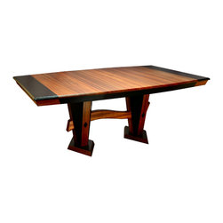 Wave Dining Table - Modern, Sleek, tapered design with an artistic wave, must be seen, pictures do not do justice.African Sapele wood with Ebonized accents and Macassar Ebony Diamond inlays on the columns.