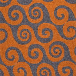"Jaipurrugs - Orange/Gray Wave Hello Rectangle Area Rug Border Color Orange 5' x 7'6"" - Abstract Pattern Polypropylene Orange/Gray Indoor-Outdoor Wave Hello Rectangle Area Rug Border Color Orange 5' x 7'6""."