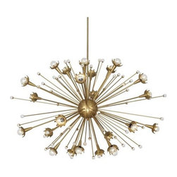 "Robert Abbey Lighting - Robert Abbey Jonathan Adler Sputnik Large Chandelier in Antique Brass - Bulb Type: G16.5 CandelabraDirect WireAntique Brass Finish w/Crystal AccentsSusp. Hardware: 3pcs 1/2"" x 12"" &1pc 1/2"" x 6"" Extension Rods"