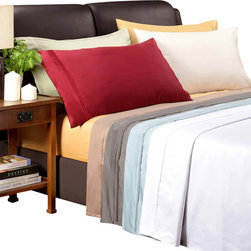 Bed Linens - Egyptian Cotton 1200 Thread Count Solid Sheet Sets Cal-King Burgundy - 1200Thread Count Solid Sheet Sets