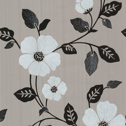 Zync Silver Modern Floral Wallpaper. - This modern floral wallpaper has a high fashion impact. A sophisticated silver finish is painted with glossy black ink and chic white suede accents.