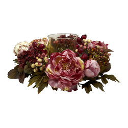 Nearly Natural - Nearly Natural Peony Hydrangea Candelabrum - A candle makes any table or shelf a little warmer in feel. and surrounding that candle with a beautiful circle of Peony makes it doubly so. The soft colors, lush berries, and green leaves will create a heartwarming scene as they dance in candlelight. Comes with a fluted glass center for your candle, this is Perfect for your holiday table, and also makes an ideal gift.