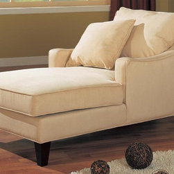 Coaster - Accent Seating Microfiber Chaise Lounge - Sloped track arms. Welt cord trim on the arms, base and seat. Plush pillow back and plush padded seat in neutral microfiber. Tapered block legs in a cappuccino finish. 59 in. L x 33 in. W x 33 in. H. WarrantyRelax in style with the plush comfort and contemporary styling of this chaise lounge. A neutral microfiber fabric wraps the entire piece for a chic, sophisticated finish that offers supreme comfort in addition to contemporary style. Place in a corner of your living room for stylish accent seating, or let it occupy front and center in compact spaces like a sunroom or den.
