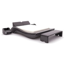 Contemporary Beds Black Leatherette Modern Bed