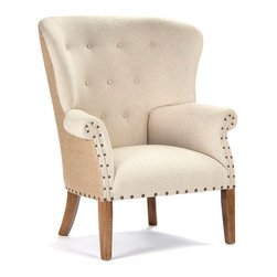 Anders Wingback Chair - A handsome club chair with a flared shape that gives your room an uplifting, high-style feel, the Anders Wingback Chair is evenly tufted and studded with two sizes of nail head trim to define its unconventional outline. This seating style nods to tradition but makes a statement with a forward-looking take on comfort in the home. Rear saber legs add a touch more class.
