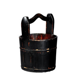 Antique Revival - Black Crested-Handle Vintage Bucket - This vintage, wooden water bucket with a sturdy wooden handle is the perfect touch for any kitchen or patio. The distressed, black finish and iron banding adds a country, rustic vibe. The bucket looks great on its own, or can be used to display flowers. Each item is unique and one-of-a-kind and dimensions/features may slightly vary.