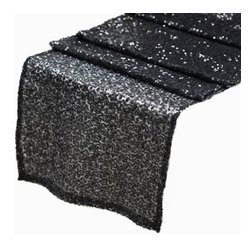Chambury Casa - Sequined Table Runner, Black, 12x108 - Celebrate your special day with your reception accented with these beautiful sequined table runners.