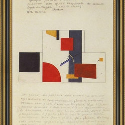 """Art MegaMart - Kazimir Malevich Principle Painting Walls - 18"""" x 24"""" Kazimir Malevich The Principle of the Painting of the Walls framed premium canvas print reproduced to meet museum quality standards. Our Museum quality canvas prints are produced using high-precision print technology for a more accurate reproduction printed on high quality canvas with fade-resistant, archival inks. Our progressive business model allows us to offer works of art to you at the best wholesale pricing, significantly less than art gallery prices, affordable to all. This artwork is hand stretched onto wooden stretcher bars, then mounted into our 3 3/4"""" wide gold finish frame with black panel by one of our expert framers. Our framed canvas print comes with hardware, ready to hang on your wall.  We present a comprehensive collection of exceptional canvas art reproductions by  Kazimir Malevich ."""