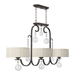 Frederick Ramond - Fredrick Ramond Prosecco Island 3-Light Chandelier - Prosecco features a whimsical design in a Renaissance Cooper finish with delicate hand-blown glass ornaments, crystal beads and ivory hand-sewn pleated shades.