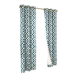 "Commonwealth Home Fashions - Trellis Thermalogic Teal 80"" X 63"" Grommet Top Curtain Pair - Trellis Thermalogic Teal 80"" X 63"" Grommet Top Curtain Pair.  Each package comes with two grommet top room darkening panels measuring 40"" Wide each. These curtains are thermal insulated, room darkening and are energy efficient.  The curtains insulating qualities keep your house warm in the winter and cool in the summer and can save on energy costs. These curtains block out a majority of the light but are not considered blackout curtains.  They feature a modern stylish geometric trellis pattern that is the perfect touch for that retro modern look. Made in China."