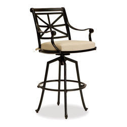 Thos. Baker - Hedges Outdoor Swivel Bar Stool - Our hand-cast aluminum hedges collection recreates the look of classic English cast iron without the weight. Black powder-coated enamel provides a rust-free, UV-resistant finish that is extremely durable. Chair and sofa backs feature a Union Jack criss-cross motif with a center medallion.  This British flag pattern is repeated in all the table tops.Quick ship cushions available in Sunbrella gingko or dupione bamboo or choose from made-to-order Sunbrella and other premium performance fabrics.Signature or premium cushion sales are final and ship in 2-3 weeks.