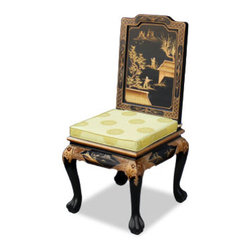 Hand Painted Chinoiserie Chair - China Furniture Online - This majestic 18th-century Queen-Ann chair is hand painted with an opulent Chinoiserie gold scenery motif that makes it an elegant work of art. It is an eye catching piece wherever it is placed. Silk cushion sold @ $45.00 each. This would be stunning as a dining room chair, a desk chair, or in an entry. A pair flanking an entryway table would be wonderful.