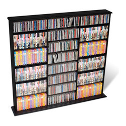 Prepac - Prepac Triple Width CD DVD Wall Storage Media Tower in Black - Prepac - CD & DVD Media Storage - BMA0960 - This very popular library style media storage unit with three separate compartments is designed to accommodate any combination of media. Fully adjustable shelves and horizontal media storage allow for easy sorting filing and re-filing of your collection as it grows.