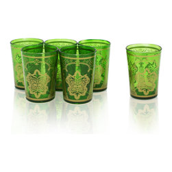 Divine Designs - Set of 6 Green Moroccan Tea Glasses - These stunning Moroccan tea glasses offer a new and unique experience to dining and entertaining. The vibrant color and distinguishing design is stylish and designed to impress.