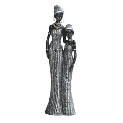 GSC - 12 Inch African Ladies In Silver Dresses Figurine - This gorgeous 12 Inch African Ladies In Silver Dresses Figurine has the finest details and highest quality you will find anywhere! 12 Inch African Ladies In Silver Dresses Figurine is truly remarkable.