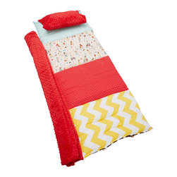 Janiebee Quilted Nap Mats - Sidewalk Play Quilted Nap Mat by Janiebee - Sidewalk Play is made of a multi color fabric in Pale Pink background fabric depicting children playing. Coordinates are yellow chevron, red, and aqua. Minky dot blanket in Red.