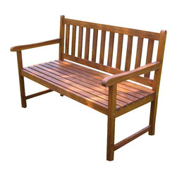 International Caravan - International Caravan 4 Foot Outdoor Wooden Patio Bench - International Caravan - Outdoor Benches - VF4110ST - For over 44 years International Caravan has been one of the leaders in quality outdoor and indoor furniture. Using only the finest materials they bring skill craftsmanship and complete dedication to those who enjoy their furniture. You cannot go wrong with any of International Caravan's beautifully constructed pieces of furniture that are sure to be a focal point inside or outside of your home for years to come.