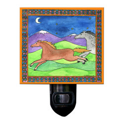 Wild Horses Night Light - Our Wild Horses Night Light is made of a print of original watercolor, which is sandwiched in between two layers of durable acrylic. The light is UL approved and comes with a standard four watt night light bulb. Gift box included. Made in the USA. (Be sure to look for our horse wall clock, magnets and alarm clock, too!)