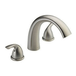 Delta Faucet - Three Hole Roman Tub 7.5 Spout - T2705-SS Finish: Stainless Features: -Roman tub faucet.-Classical and sensible style.-Temperature and volume controlled with handles.-Hot and cold stems are interchangeable.-0.63' I.D copper inlet supply tubes.-Conventional rough-in adjusts to 1.25' maximum deck thickness.-All parts are replaceable from top.-Solid fabricated brass end valves and spout body.-ASME A112.18.1 / CSA b125.1 certified.-ADA Compliant. Includes: -Includes lever handle. Dimensions: -Fixed 10' wide spread mount on deck or ledge.-Dimensions: 5.19' H x 6.36' W x 7.5' D. Collection: -Classic collection. Warranty: -Lifetime faucet and finish warranty.