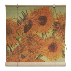 Oriental Furniture - Sunflowers Bamboo Blinds - (48 in. x 72 in.) - Let Vincent Van Gogh's famous  Sunflowers  bring a breath of spring to your room all year long with these stunning blinds. Easy to set up and install, these all natural bamboo matchstick blinds are attractive, versatile, and a sophisticated in any room.