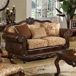 """Acme Furniture - Remington Loveseat with 3 Pillows in Bonded Leather & Fabric - Remington Loveseat with 3 Pillows in BL & Fabric with Cherry Frame; Finish: BL & Fabric with Cherry Frame; Materials: P1 Board, CA Foam, BL & Fabric; 3 Pillows, Reversible Seat Cushions (Pattern Fabric on Both Sides); Dimensions: 70""""L x 37""""D x 43""""H"""