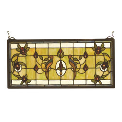 Meyda Tiffany - Meyda Tiffany Cottage Lancaster Stained Glass Window X-15489 - Traditional details and botanical elements add traditional elegance to this Meyda Tiffany stained glass window. From the Cottage Lancaster Collection, this charming design features a muted lime green backdrop that accentuates the green and burgundy botanicals. Two birds add a whimsical finishing touch.