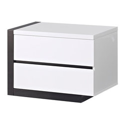 Global Furniture - Trinity Left Nightstand in White with Black Glossy Finish - The Trinity bedroom collection is in a class all by itself. It features a generously sized upholstered headboard with vertical line detailing, platform style bed and clean line case pieces finished in a glossy black. This is a must have for any bedroom.