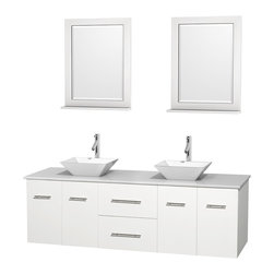 """Wyndham Collection - Centra Bathroom Vanity in White,WT Stone Top,Pyra White Sinks,24"""" Mirs - Simplicity and elegance combine in the perfect lines of the Centra vanity by the Wyndham Collection. If cutting-edge contemporary design is your style then the Centra vanity is for you - modern, chic and built to last a lifetime. Available with green glass, pure white man-made stone, ivory marble or white carrera marble counters, with stunning vessel or undermount sink(s) and matching mirror(s). Featuring soft close door hinges, drawer glides, and meticulously finished with brushed chrome hardware. The attention to detail on this beautiful vanity is second to none."""