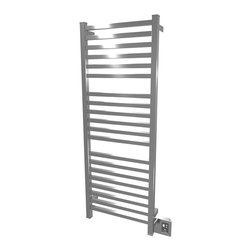 Amba - Edged 20x54 Electric Heated Towel Warmer, Brushed - Dual-purpose radiator functions as towel warmer and space heater