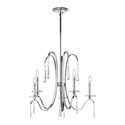 Joshua Marshal - Five Light Chrome Up Chandelier - Five Light Chrome Up Chandelier