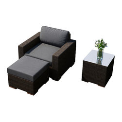 Harmonia Living - Arden 3 Piece Outdoor Club Chair Set, Charcoal Cushions - A unique, stylish design gives the 3 Piece Arden Club Chair Set with Gray Sunbrella® Cushions (SKU HL-ARD-3CC-CH-CC) an edge when it comes to creating an original style for your outdoor space. The wicker is composed of UV resistant High-Density Polyethylene (HDPE) with a rich, warm Chestnut finish. The plush cushions provide a comfortable seat that's also built for the outdoors with their Sunbrella fabric covers. The feet are made from teak wood, giving the entire set a different approach to modern outdoor furniture.