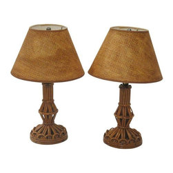 "Used Small Rattan Lamps with Burlap Shades - A Pair - Take this pair of petite rattan table lamps with burlap shades for a spin. Perfect for your beach or retro inspired home. Wired and in working condition. The shades measure 6"" in diameter on the top and 12"" on the bottom. Each are 8"" tall."