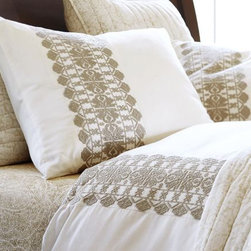 Embroidered Stripe Duvet Cover, Sandalwood - Neutrals are my thing, and this geometric embroidery stripe duvet cover has my heart going pitter-patter.