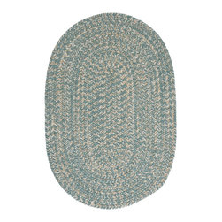 Colonial Mills, Inc. - Tremont, Teal Rug, 2'X6' - Oval rugs are great for asymmetrical spaces or for softening the hard lines in a room. This braided rug's light teal color has a natural, muted softness that will harmonize with just about any color scheme. Try it anywhere in your home that needs a little extra something; you'll be surprised how something so subtle can freshen and uplift a space.